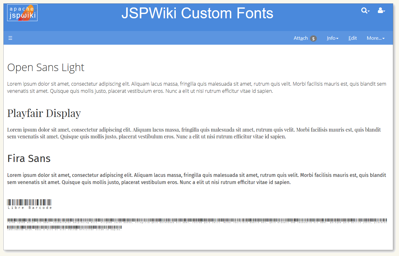 Custom fonts in JSPWiki