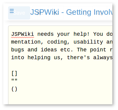 JSPWiki smart typing pairs