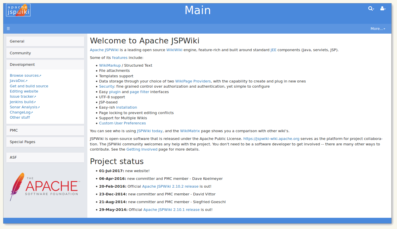 The new JSPWiki website homepage